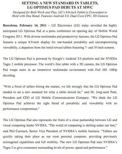 LG and Samsung Go Gaga for Honeycomb Tablets (MWC)