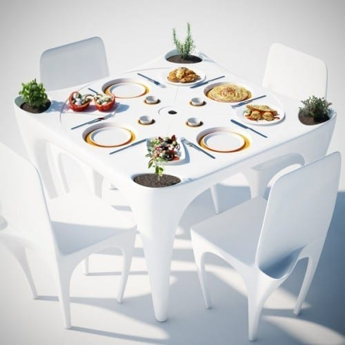 "Your Picnic Will Be a Breeze With the ""Bye Bye Wind"" Garden Table"