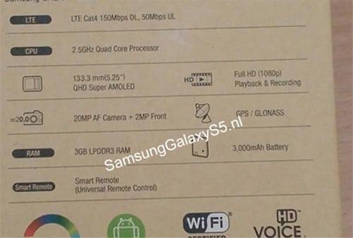 Samsung Galaxy S5 Specs Leaked via Box Shot