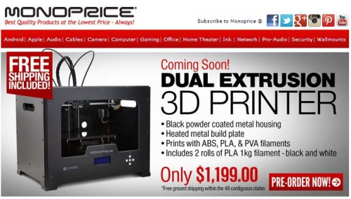 Pre-Order the Monoprice Dual Extrusion 3D Printer for $1199