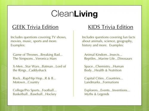 Geek Trivia Makes Clean Living Easy