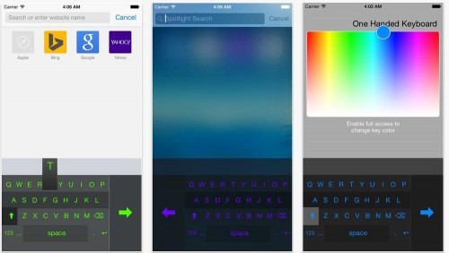 One Handed Keyboard for iPhone 6 Plus Pushes to Either Side