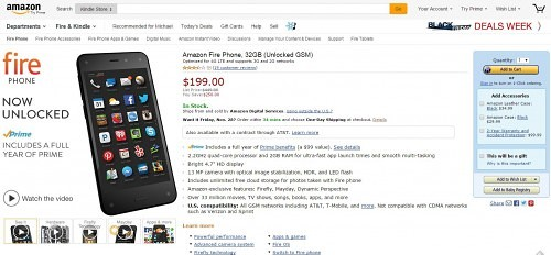 Unlocked Amazon Fire Phone Slashed to $199 Outright (Free Amazon Prime Too)
