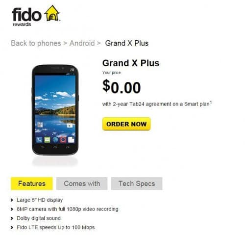 Fido Quietly Adds ZTE Grand X Plus to Lineup