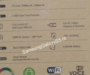 Samsung Galaxy S5 Specs Leaked via Box Shot