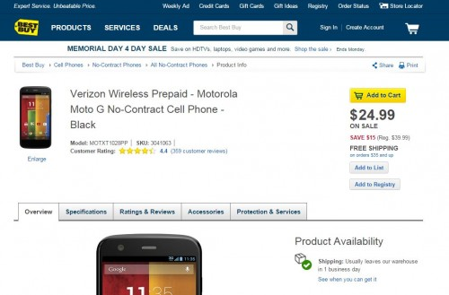 No Contract Verizon Moto G Slashed to Just $25