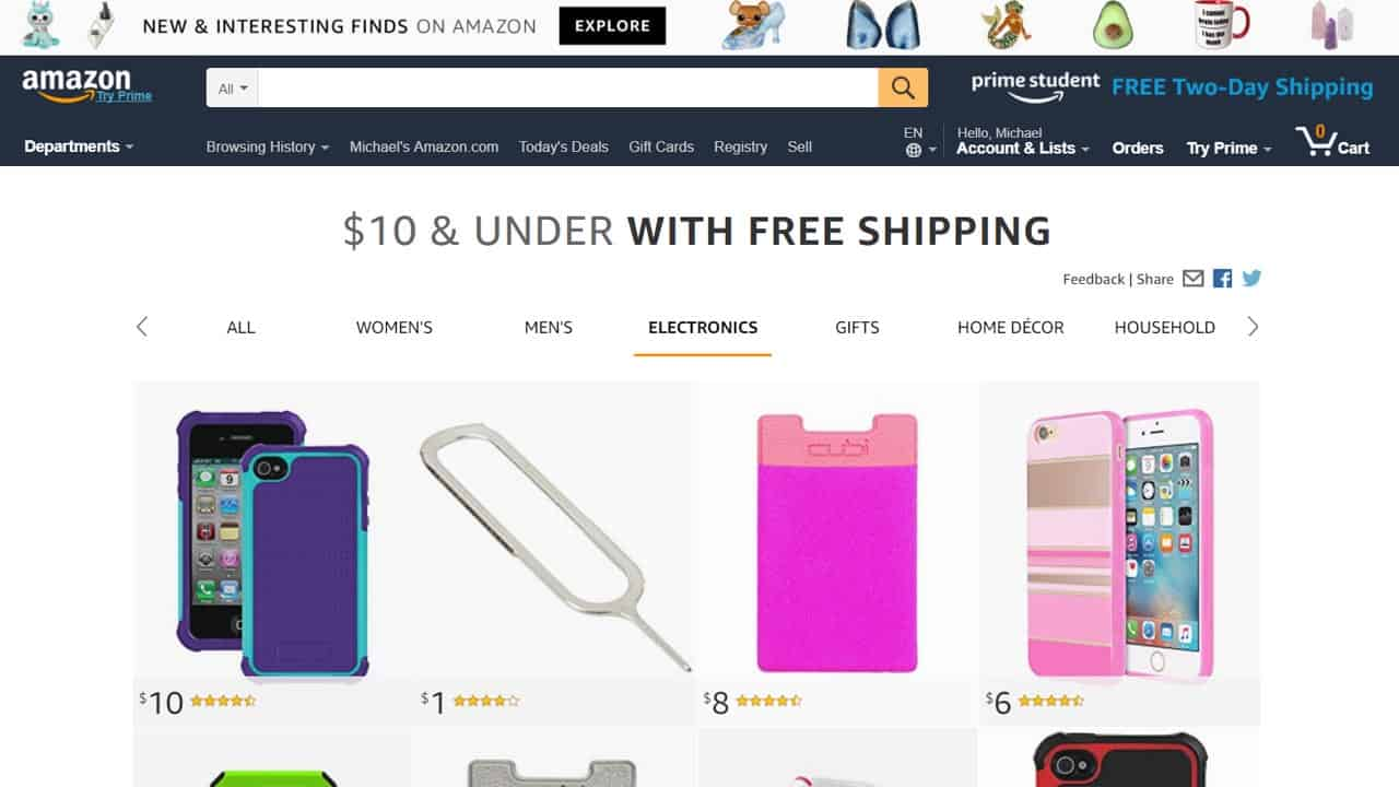 Amazon $10 & Under with Free Shipping Makes Impulse Buying Even Easier